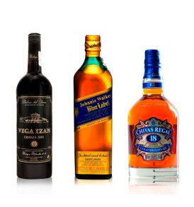 Set Chivas 18, Johnnie Walker Azul y Vega Izán