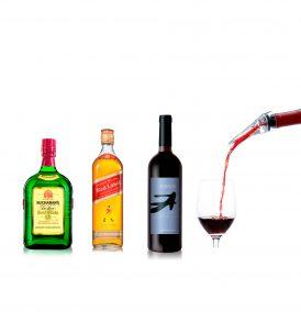 Set Buchanan´s, Johnnie Walker, Vino y Decantador