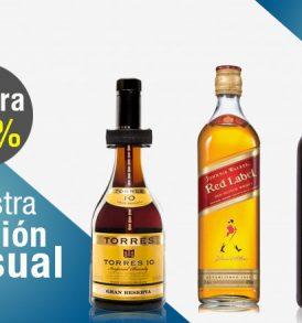 Promoción con 4 Torres, 4 Johnnie Walker Red y 4 Vinos Tintos Audacia