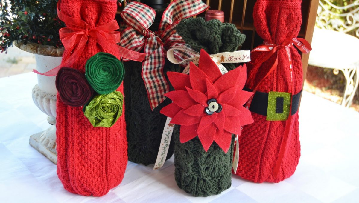 Cubre botellas navideños