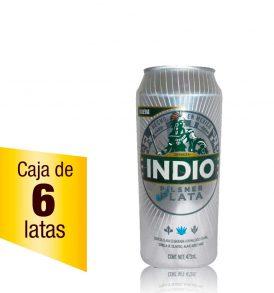 Cerveza Indio Pilsner Plata caja 6 latas 473ml