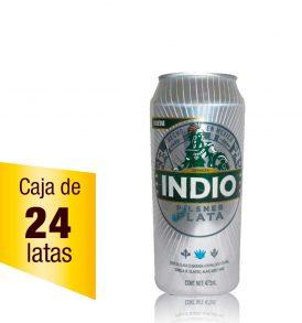 Cerveza Indio Pilsner Plata Caja 24 latas 473ml