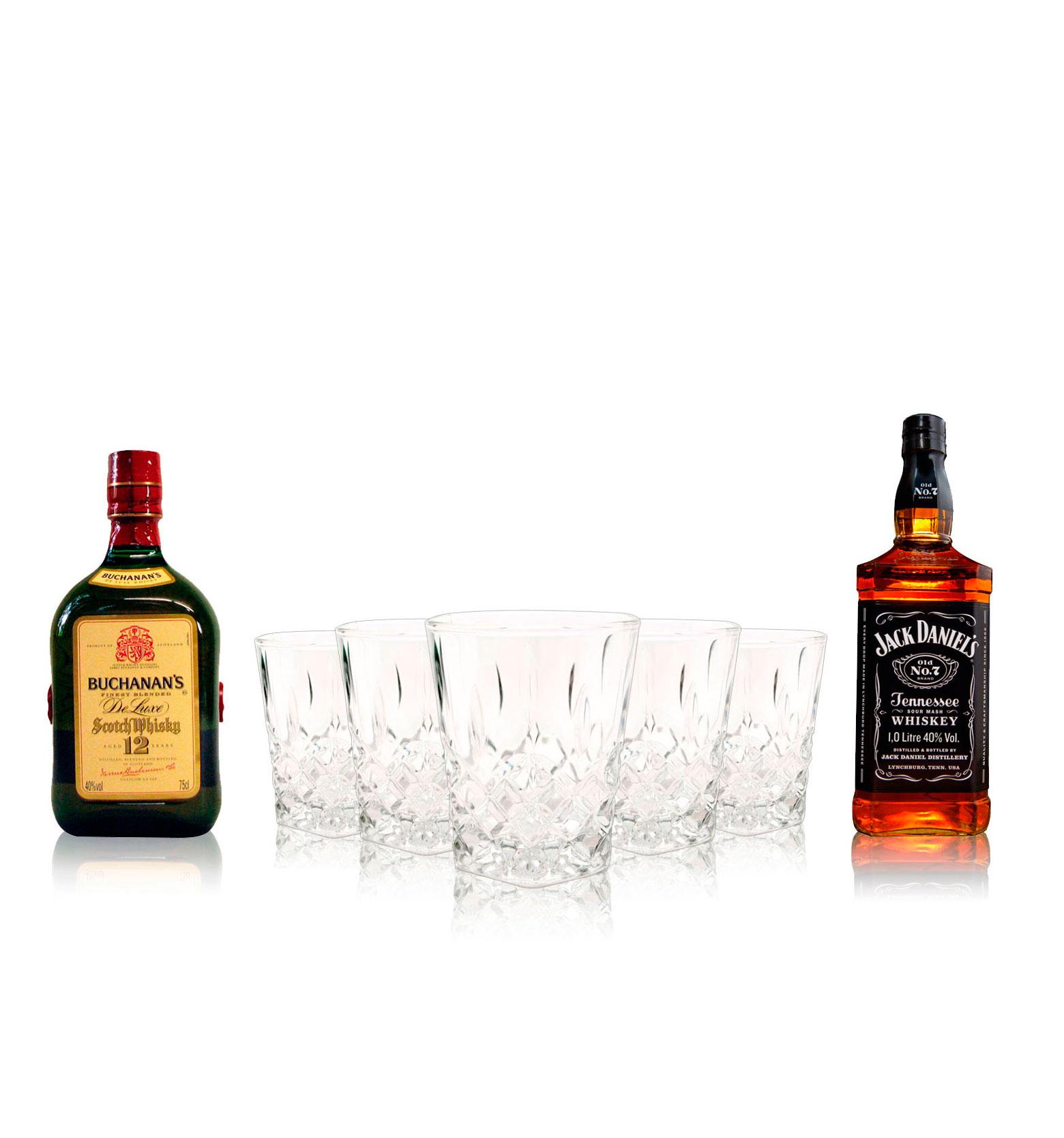 Set Buchanan´s, Jack Daniel´s y Licorera con vasos
